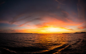 A sunset photographed by Snorkel Vacations on a snorkeling trip to Raja Ampat
